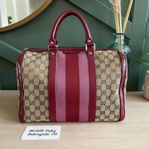 Gucci Boston GG Supreme Canvas Raspberry Pink Bag